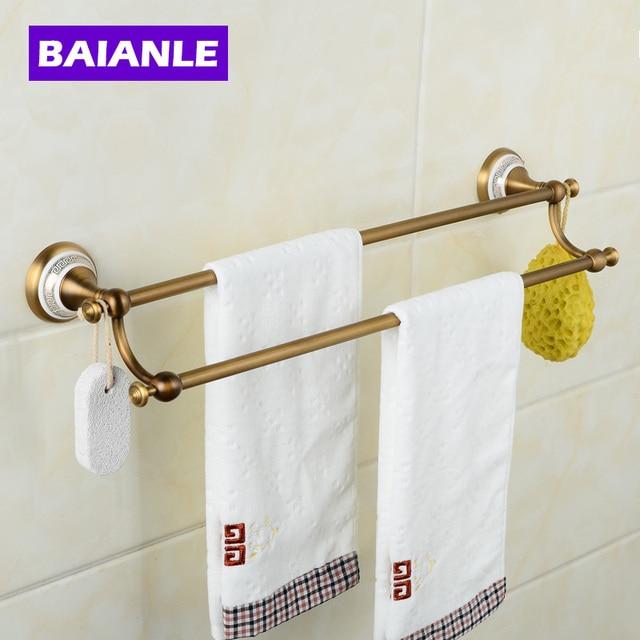 Creative Wall Mounted Double Towel Bars Br Ceramics Bathroom Bath Rods