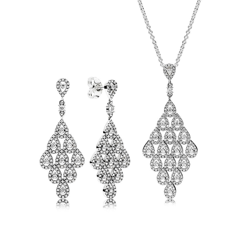 все цены на 100% 925 Sterling Silver Cascading Glamour Necklace And Earrings Gift Set Fit Charm Original Necklace Jewelry A set of prices