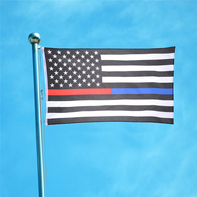 90 x 150cm America Thin Blue Line & Red Line Police & Fire respect and honor law enforcement Flag Banner 3 x5ft home decor Flags