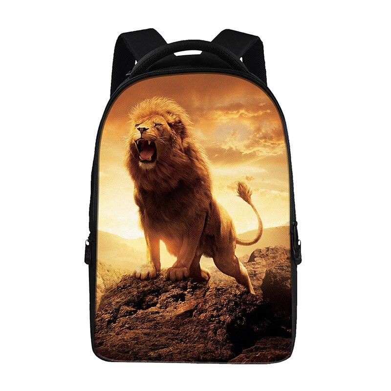 Animal lion imprimé sacs à dos pour adolescents sac d'ordinateur sacs d'école de mode pour les cartables primaires sac à dos de mode meilleur sac de livre - 3