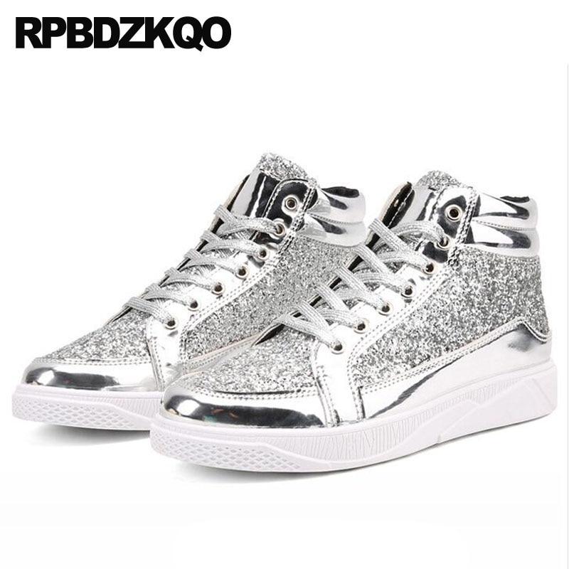 High Top Comfort Silver Sneakers Black