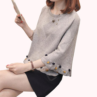 2018 New Autumn Women Sweaters Fashion O Neck Horn sleeve Pullovers Plus Size Loose Knitted Sweater Short Female Casual Tops