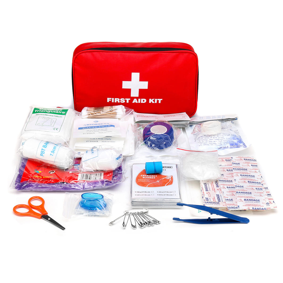 184Pcs First Aid Kit Safe Outdoor Wilderness Medical Emergency Survival Kit Trauma Bag Treatment Pack Set For Camping Hiking