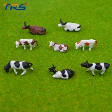 30pcs HO Scale Model Painted Mixed Farm Animals Cows for Model Building Materials