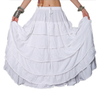 2018 Ats Multi Full Circle Belly Dance Gypsy Skirt Tribal Bellydance Skirt Double Layers Printed Cotton Spanish Flamenco Dress