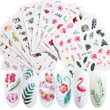 29pcs Nail Stickers Zomer Bloem Decals Groen Links Flamingo Nail Sliders Watermerk Folie Tips Nail Art Decorations Wraps SA764