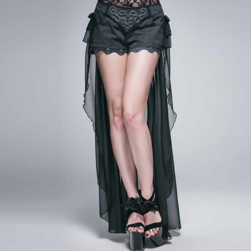 Diabo moda gótico preto sexy shorts com renda longa steampunk verão feminino legal shorts calças personalizadas
