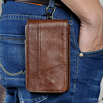 Hot Koop Mannen Taille Bag Lederen Mobiele Telefoon Case Tassen mannelijke Hip Bum Haak Purse Pouch Loops Riemfanny Hoge kwaliteit