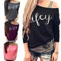 2015 Female Summer Autumn Loose Casual Long Sleeve T Shirt Off The Shoulder Tops Ladies Tee T-shirts Feminina Freeshipping C1