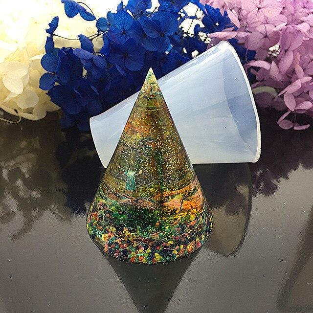 Epoxy de silicona para hacer joyas, moldes de resina hechos a mano, molde de resina, cono Triangular cúbico, herramientas de fabricación de joyas redondas