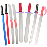 8PCS 30 Assorted EVA Foam Toy Swords Set Warrior Weapons Model Toy Pretend Playset for Kids Different Designs Hilt Color Random