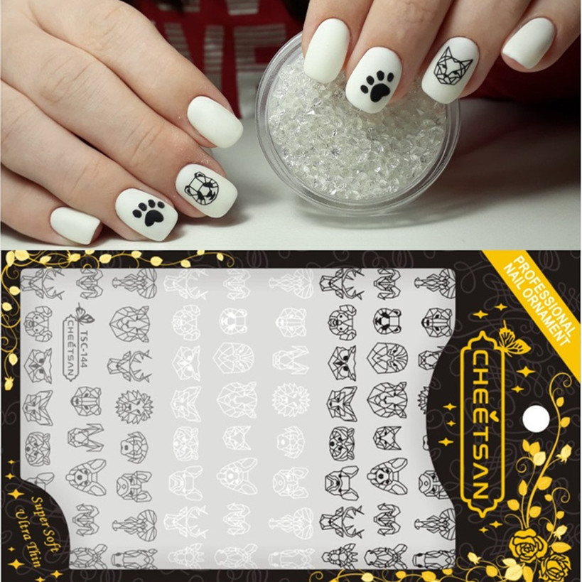 TSC series Paper cutting tsc 144 150 3d nail art stickers decal cheetsan brand template diy nail tool decorations in Stickers Decals from Beauty Health
