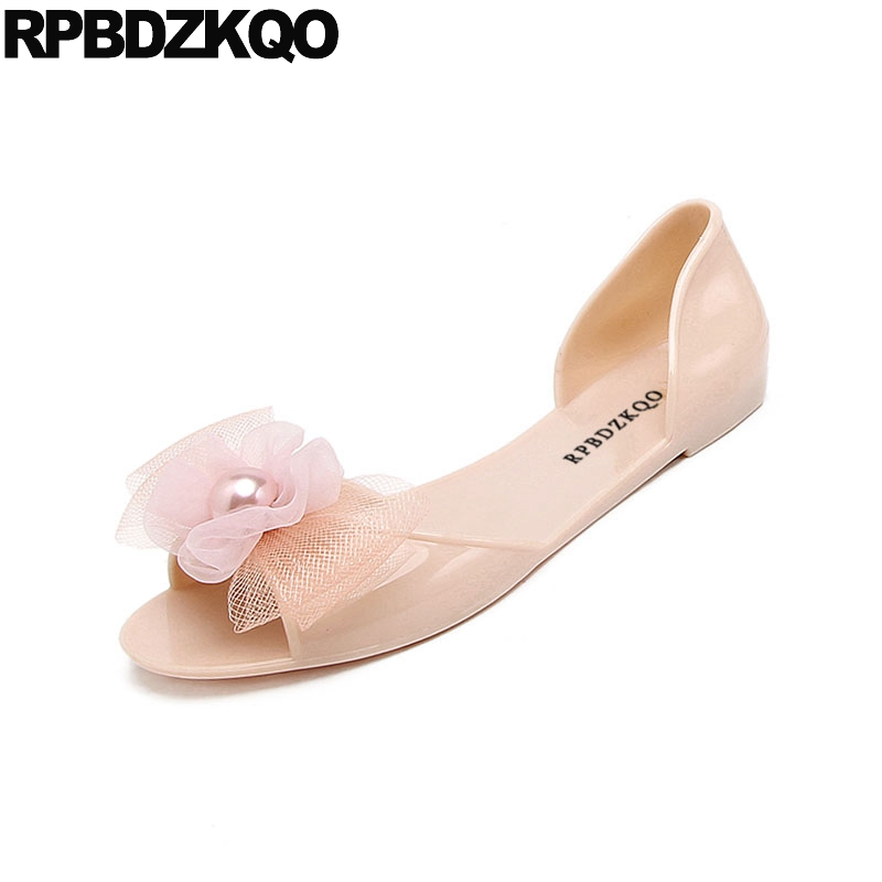Image 3 - rubber kawaii bow women sandals flat summer 2019 cheap embellished shoes cute jelly pearl soft pink beach slip on black pvcLow Heels   -