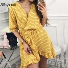 Mayhall 2018 Summer New Women Sweet Dress V Neck Dot Ruffles Elegant Chiffon Sexy Beach Vacation Short Sleeve MH156
