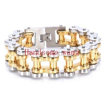 عالية الجودة 316L الفولاذ المقاوم للصدأ فضة الذهب دراجة نارية سوار 23cm (9inch) * 22mm للالرجال وسيم المعصم مجوهرات رجالية بوي