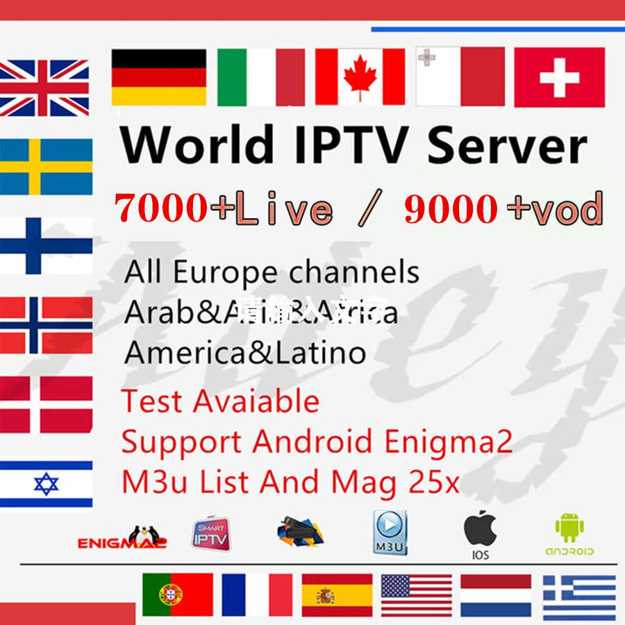 HD World IPTV Subscription for Italy Nordic Dutch Greece Belgium French Arabic Turkey IPTV M3U for Android Smart TV