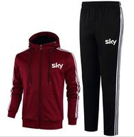 New couple sports suit cotton team sky sky team long sleeve hooded running pants sportswear suit