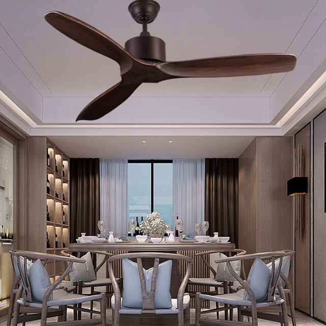 52 inch luxury ceiling fan Without Light Home Bedroom living Room Fan 220v Wood Remote Control 3 wooden blades