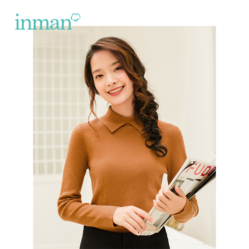 Image 3 - INMAN Winter New Arrival Female Solid Color Lapel Simple Casual Long Sleeve Knitting Women Pullover SweaterPullovers   -