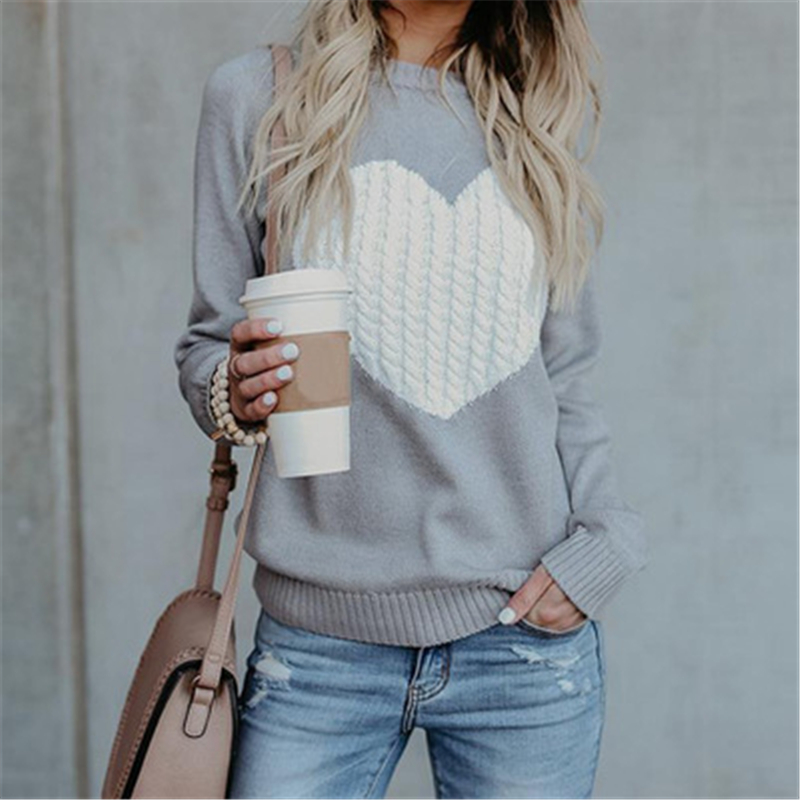 Fashion New Printing  Love Pattern Knitting Sweater Tops Woman Clothes Long Sleeve O-Neck Pullover Female Autumn
