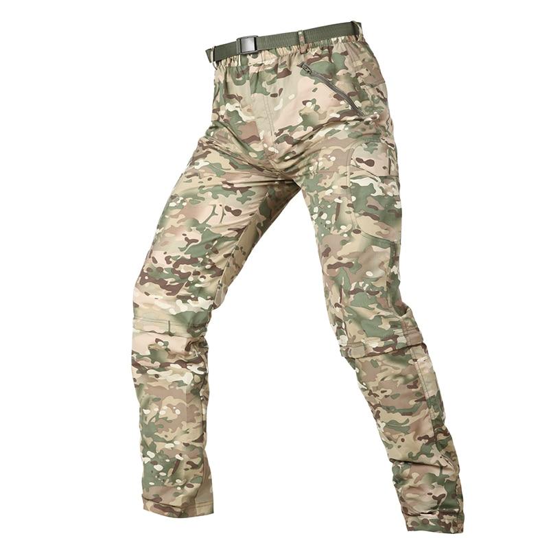 Летние военно-тактические брюки Для мужчин быстросохнущая Съемная легкие брюки дышащая молнии съемный камуфляжные армейские брюки