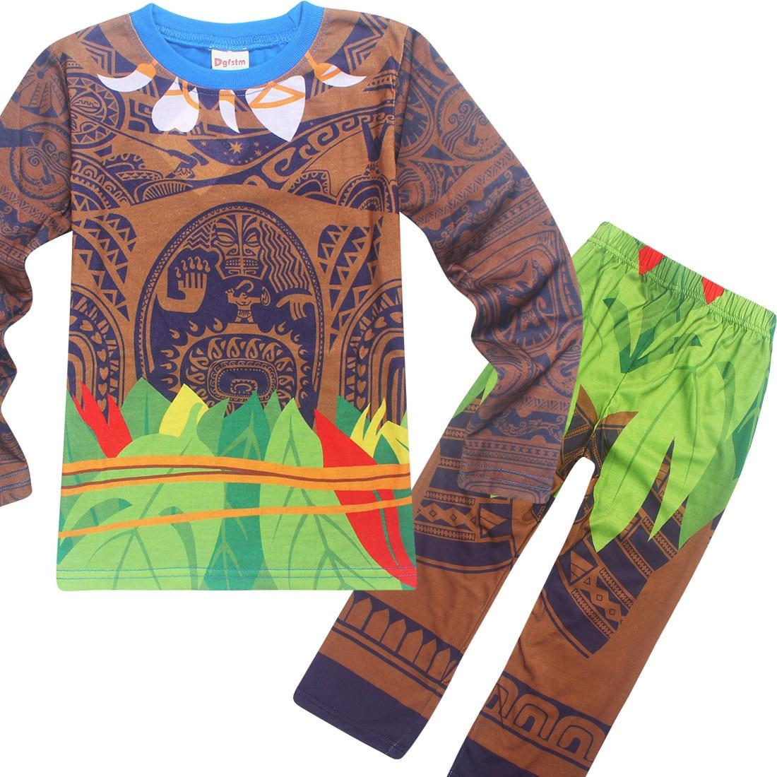 ab7d50cdad149 Maui Garçons Nuit Moana vaiana Costume Filles Pyjamas de noël Pyjama  Enfants Garçons Pyjamas À Manches Longues T shirt + Impression vêtements  Ensemble dans ...