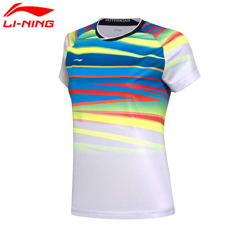 Li-Ning Women AT DRY Badminton Shirts Breathable Light T-Shirts Competition Top Comfort LiNing Sports Tee AAYM062 WTS1336