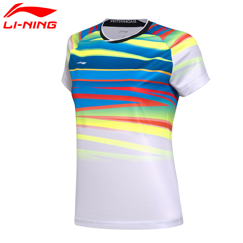 (Break Code)Li-Ning Women AT DRY Badminton Shirts Breathable T-Shirts Competition Li Ning LiNing Sports Tee AAYM062 WTS1336