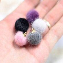 Kewgarden Silk Rings Handmade Solid Mink Hair Ball DIY Earrings Necklace Bowknot  Accessories 10pcs/set