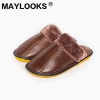 Hommes Chaussures Top Mode Pantufas 2018 Maylooks Hommes En Cuir de Vache D'hiver Doux Pantoufles Confortable Doublure Chaude Chambre Mule Maison M-8003