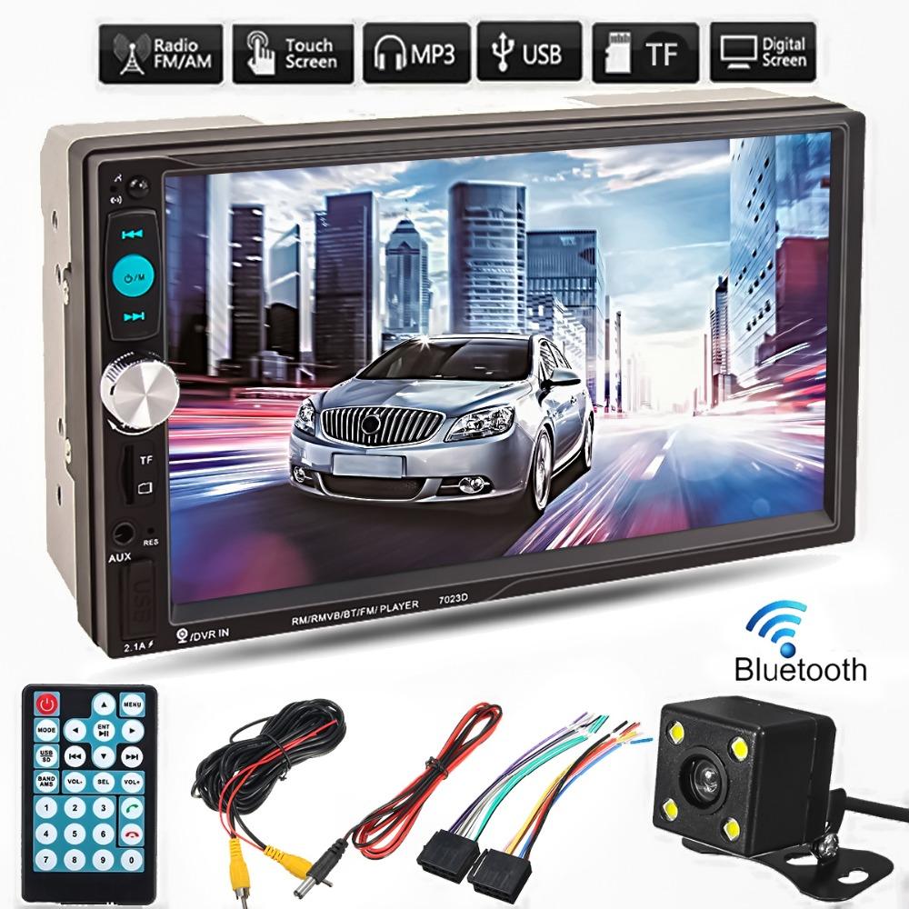 7 Inch TFT Car Audio Stereo Touch Screen 2 Din MP5 Player with Rearview Camera Bluetooth V2.0 Hands-free Call AUX TF USB FM 4 1 inch 1 din tft 12v hd car stereo radio bluetooth mp3 mp5 player support usb fm tf aux with rearview camera
