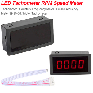 4 Digital LED Red Tachometer RPM Speed Meter+Hall Proximity Switch Sensor NPN 10-9999RPM/0.5RPM
