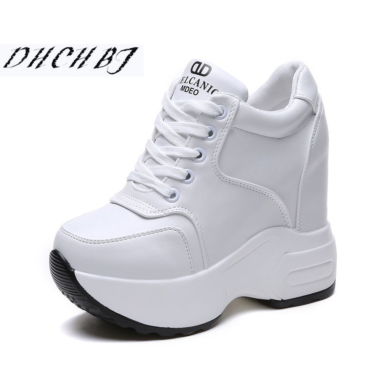 2019 Women Spring Casual Platform Shoes Fashion High Heels Woman Wedges Sneakers Shoes 11CM Heigh Increasing Outdoor White Shoes