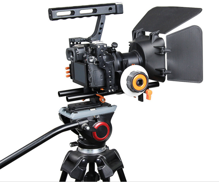DSLR Rig Video Stabilizer Shoulder Mount Rig+Matte Box+Follow Focus+ Cage for Sony A7 II A7r A7s Panasonic GH4 Video Camcorder 2016 new koolertron hand grip handle shoulder mount rig follow focus adjust platform matte box sunshade for dslr cannon nikon