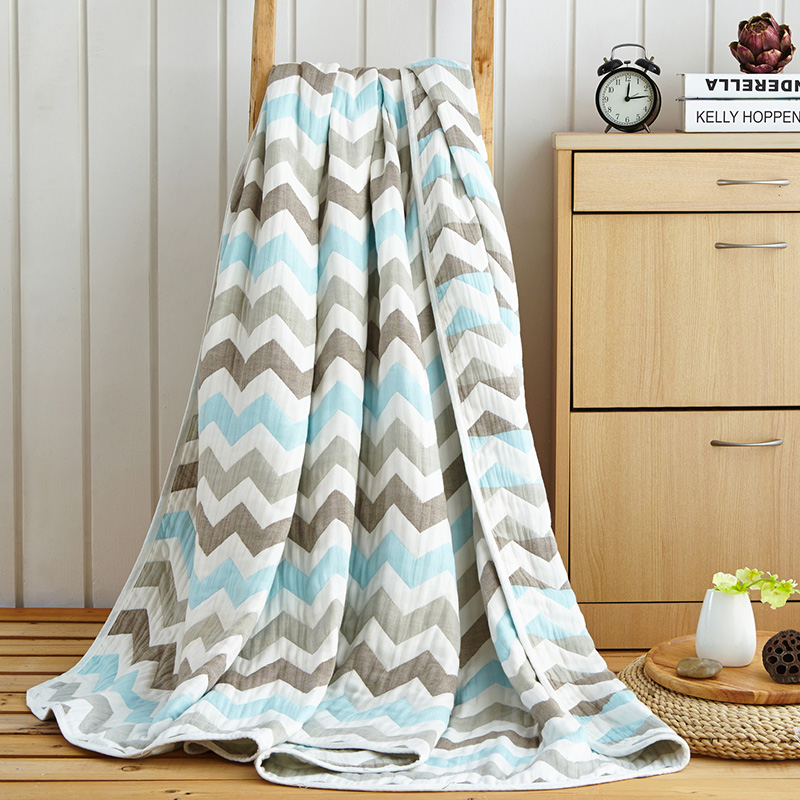 Japan Style Colour Wave Stripe Summer Throw/plaids Single Twin Queen Size Children Cotton Towel Blanket 120*150cm Soft Bed Sheet