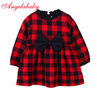Baby Girls Dress Red First Birthday Dress For Girl Baby Clothes Long Sleeve Plaid Bow Princess Dress Wedding 2019