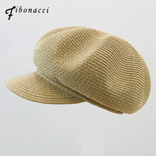 Fibonacci High Quality Fashion Fedoras Straw Octagonal Hats Summer Women Fedora Hat Equestrian Cap