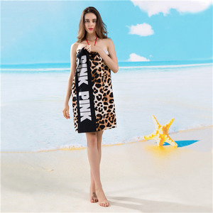 Image 2 - Moda Sunbath Leopard Beach ręczniki 100% bawełna kobiety ręcznik do jogi sporty pływackie koc do owijania szybka sucha kąpiel ręczniki 145*70cm