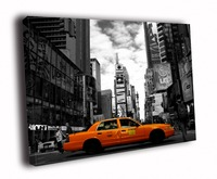 HD Canvas Printings Painting Yellow Cab Taxi Times Square Night Lights New York City BW D5676
