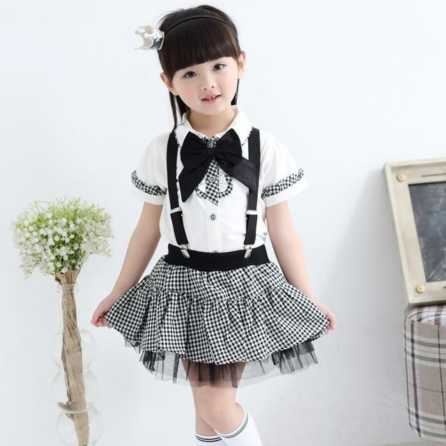 97d0b1a6e Children Formal Class Suit Girls Boys School Uniforms Sets Bow Tie T-shirt  +Half Strap Pant Tutu Skirt Boy Performing Suit #8711