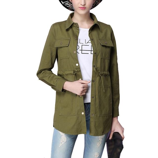 931a2040caa3 Spring Woman Basic Coats Drawn Rope Waist Pockets Cotton Military Jacket  Women Plus Size Jackets Coats Casacos Chaqueta Mujer