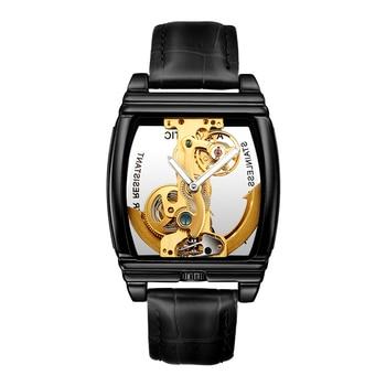 SHENHUA Mens Skeleton Wrist Watches Luxury Automatic Mechanical Watch Men Black Leather Wrist Watches 2019 Male Clock Relogios