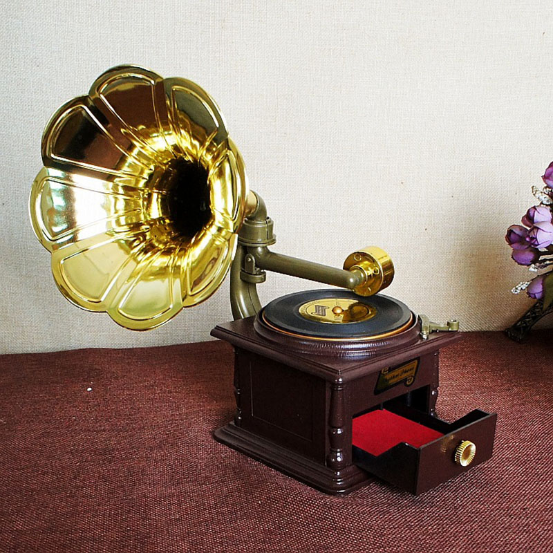 Creative Crafts Retro Phonograph Props Music Box with Drawer Gold Trumpet Horn Music Box For Girlfriend Valentine's Day Gifts