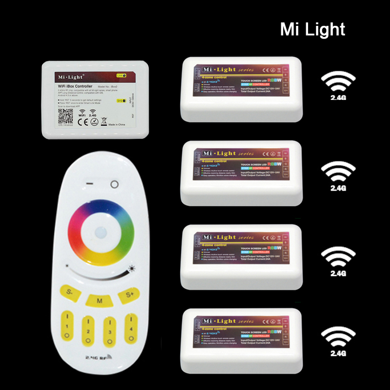 Free shipping Remote+WiFi +4x RGBW LED Controller group control 2.4G 4-Zone Wireless RF Touch For 5050 3528 RGBW Led Strip Light mi light wifi controller 4x led controller rgbw 2 4g 4 zone rf wireless touching remote control for 5050 3528 led strip