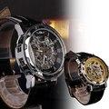 1 pc marca de luxo Antigo Esqueleto Automático dos homens relógios Mecânicos do sexo masculino relógios de pulso pulseira de Couro relógios de Pulso horas presente H3