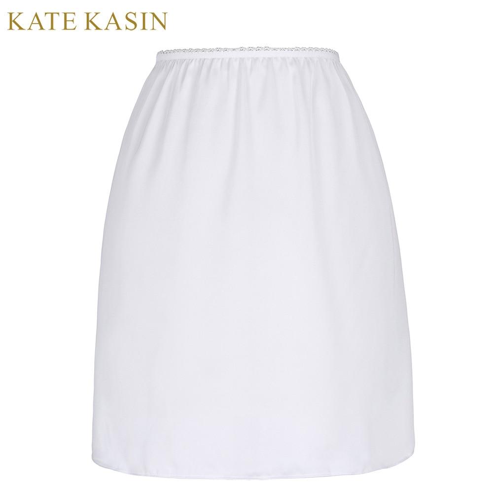 Kate Kasin White Satin Underskirt Half Slip Women Sexy Short Underdress Petticoat Ladies 2017 Summer Black Slips Skirt