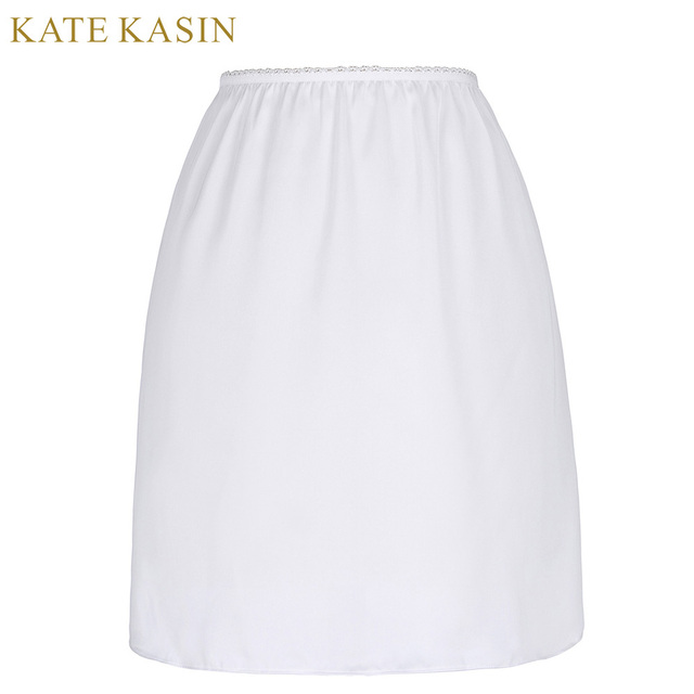 93a883e3dbbd2 Kate Kasin White Satin Underskirt Half Slip Women Sexy Short Underdress Petticoat  Ladies 2017 Summer Black