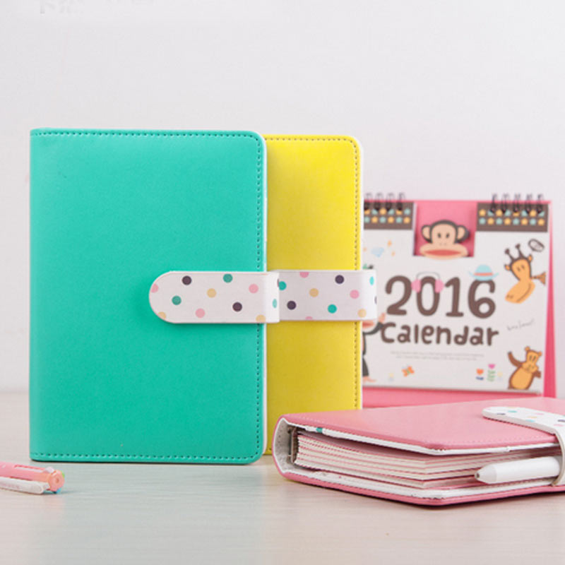 AGIE Cute Leather Notebook Kawaii Colorful A6 Spiral Planner Agenda School/Office Ring Binder Personal Filofax Diary Sketchbook a6 cute spiral notebook notepad pu leather colored flamingo sakura planner kawaii diary book school office supply papelari