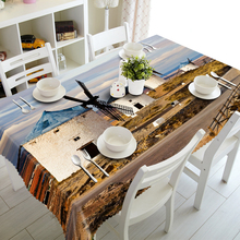 World Landscape 3d Tablecloth Dutch Windmill Castle Small Town Pattern Polyester Cotton Rectangular&Round Table cloth for Party