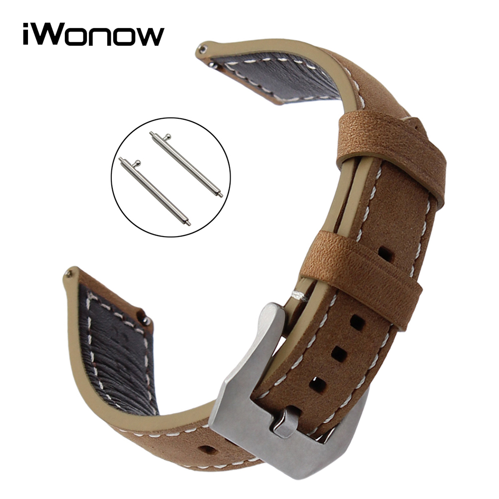 Quick Release Italy Genuine Leather Watchband 22mm for LG G Watch Urbane Asus ZenWatch 1 2